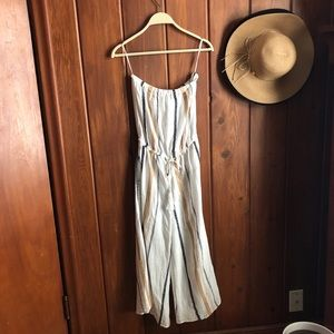 Long Stripped Strapless Jumpsuit